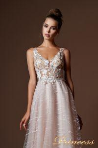 Вечернее платье 9077. Цвет бежевый. Вид 3