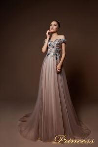 Вечернее платье 9078. Цвет шампань. Вид 1
