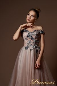 Вечернее платье 9078. Цвет шампань. Вид 3