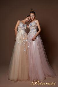 Вечернее платье 9082. Цвет бежевый. Вид 1
