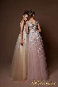 Вечернее платье 9082. Цвет бежевый. Вид 2