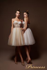 Вечернее платье 9085. Цвет бежевый. Вид 1