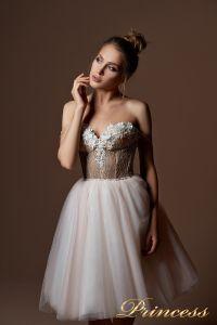 Вечернее платье 9085. Цвет бежевый. Вид 3