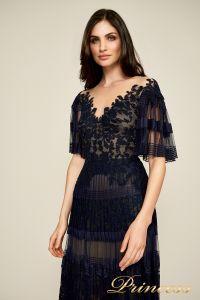 Вечернее платье BDH18395L navy nude. Цвет синий. Вид 3
