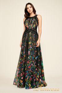 Вечернее платье BDQ17217L bk fl. Цвет чёрный. Вид 1
