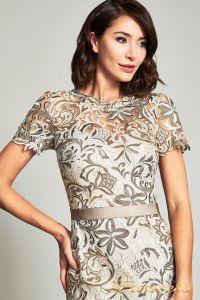 Коктейльное платье BOQ19428M. Цвет бежевый. Вид 3