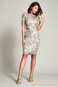 Коктейльное платье BOQ19428M. Цвет бежевый. Вид 1