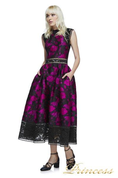 Вечернее платье AYT17594MD_FUSCHIA_BLACK (цветочное)
