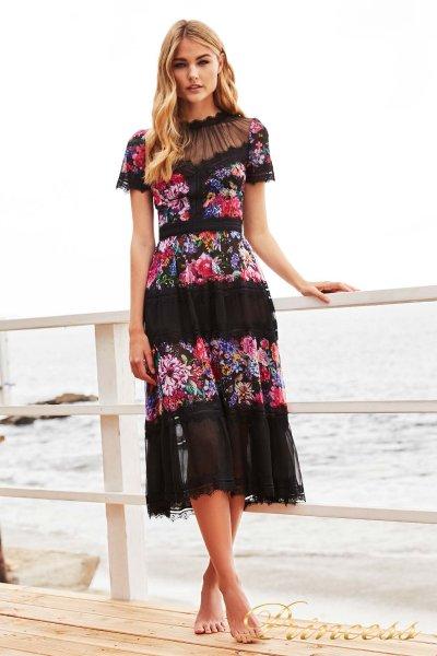 Вечернее платье Tadashi Shoji BDD17173M black floral print (чёрный)