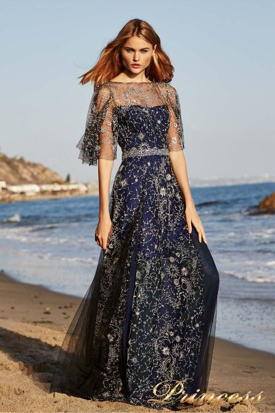 Вечернее платье Tadashi Shoji DBI18481LB (синий)