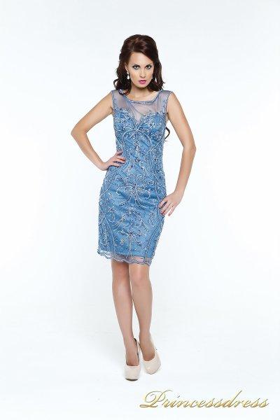 Коктейльное платье 12073 (синий)