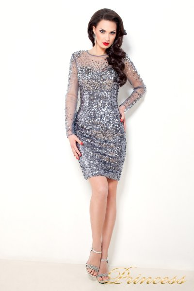 Коктейльное платье1306 (стальной)