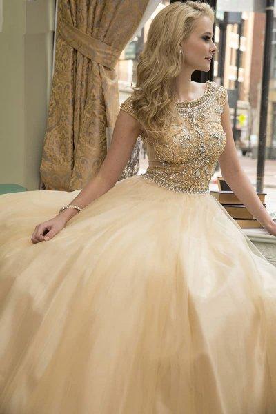 вечернее платье 131232 (персиковый)