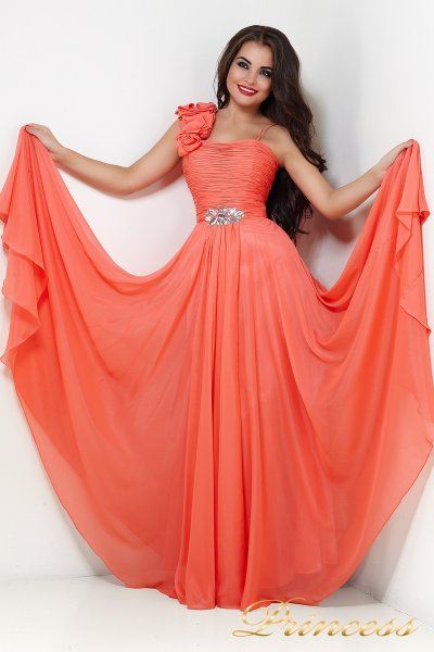 Вечернее платье 131Y (коралловый)