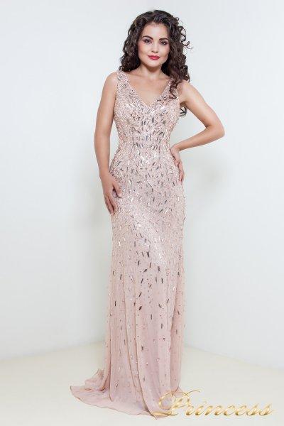 Вечернее платье в пол цвета пудры 1321P (розовый)