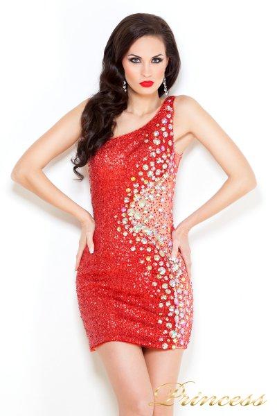 Коктейльное платье 1370R (красный)