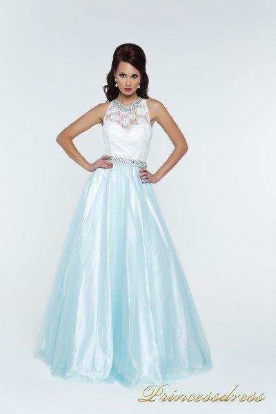 Вечернее платье 140344T (голубой)