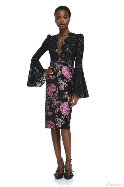 Вечернее платье Tadashi Shoji AYR17735M BLACK (цветочное)