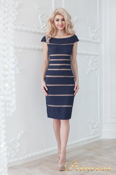 Коктейльное платье 16002 navy-nude (синий)