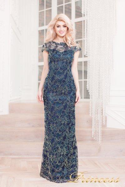 Вечернее платье 1628 navy gold (синий)