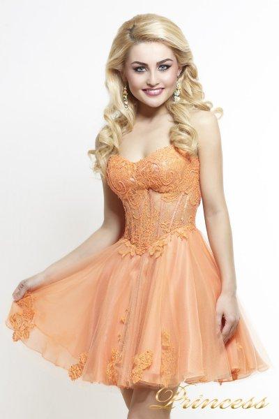 Коктейльное платье 6013 (оранжевый)