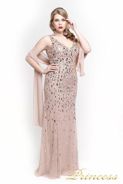 Вечернее платье в пол цвета пудры 1321P