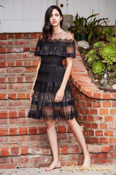 Вечернее платье BBT 18364M BLACK NUDE (чёрный)