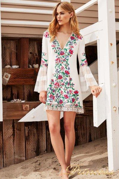 Коктейльное платье BDB 18423S WHITE DAHLIA FLORAL (цветочное)