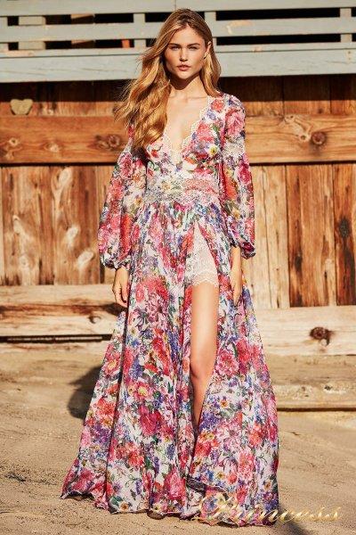 Вечернее платье BDD 18439L WHITE FLORAL PRINT (цветочное)