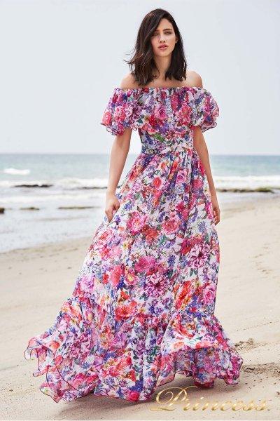 Вечернее платье BDD 18496L WHITE FLORAL PRINT (фуксия)