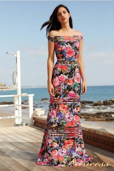 Вечернее платье BDF 18438L BLACK FLORAL PRINT (цветочное)