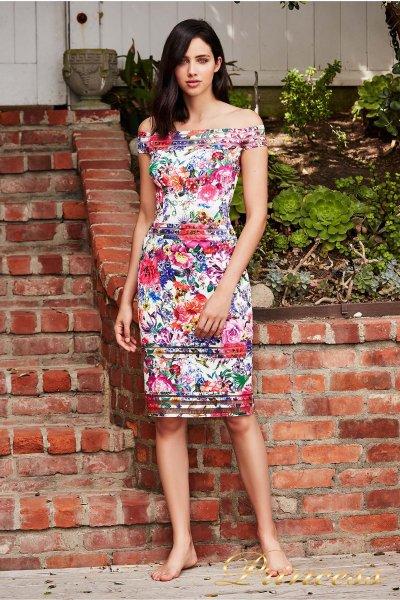Вечернее платье BDF 18428M WHITE FLORAL PRINT (цветочное)