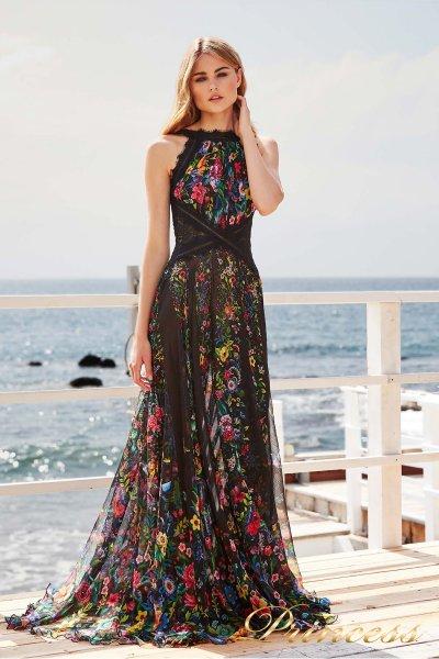 Вечернее платье BDQ 17217L BLACK FLORAL PRINT (чёрный)