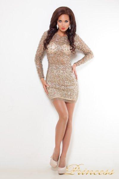 Коктейльное платье 632 (коричневый)
