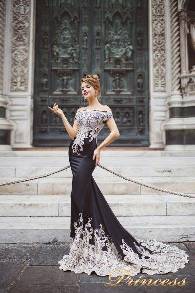 Вечернее платье 8002 (чёрно-белый)