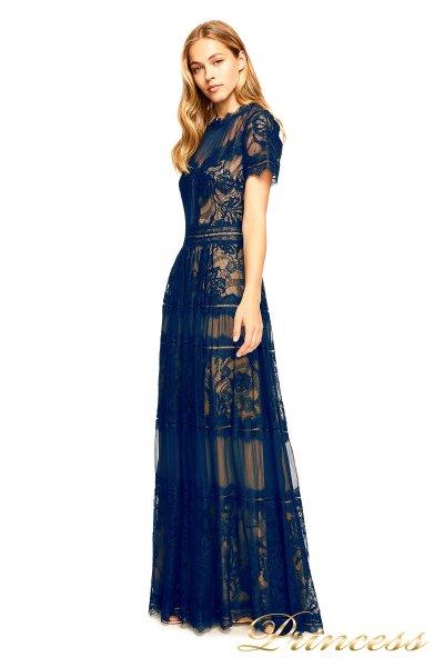 Вечернее платье AWI 17173L NAVY NUDE (синий)