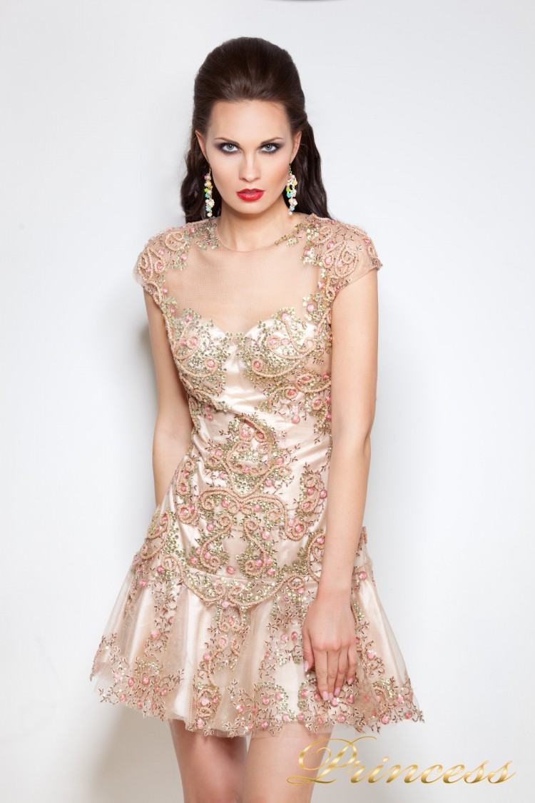 Коктейльное платье 1039 золотого цвета