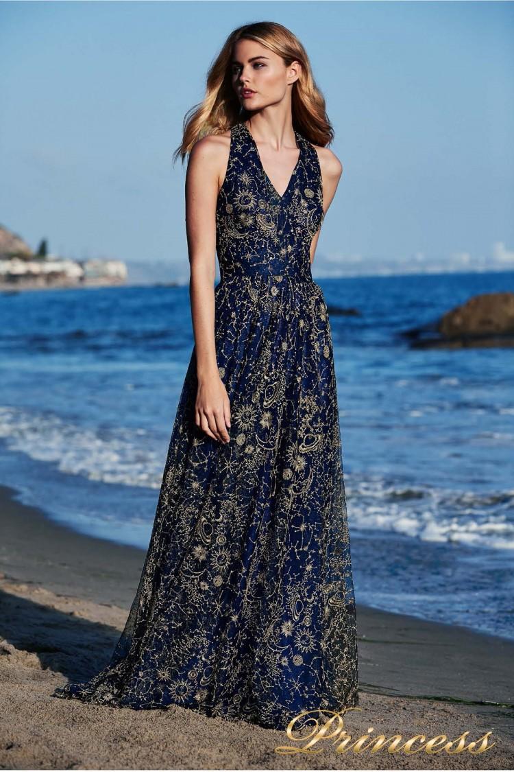 Вечернее платье Tadashi Shoji BDI18480LB синего цвета