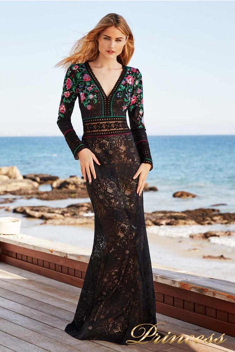 Вечернее платье Tadashi Shoji BCY18446L black dahlia floral цветного цвета