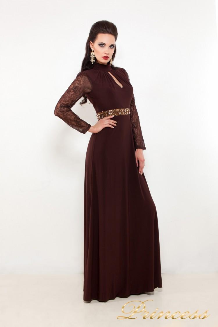 Вечернее платье 110913 коричневого цвета