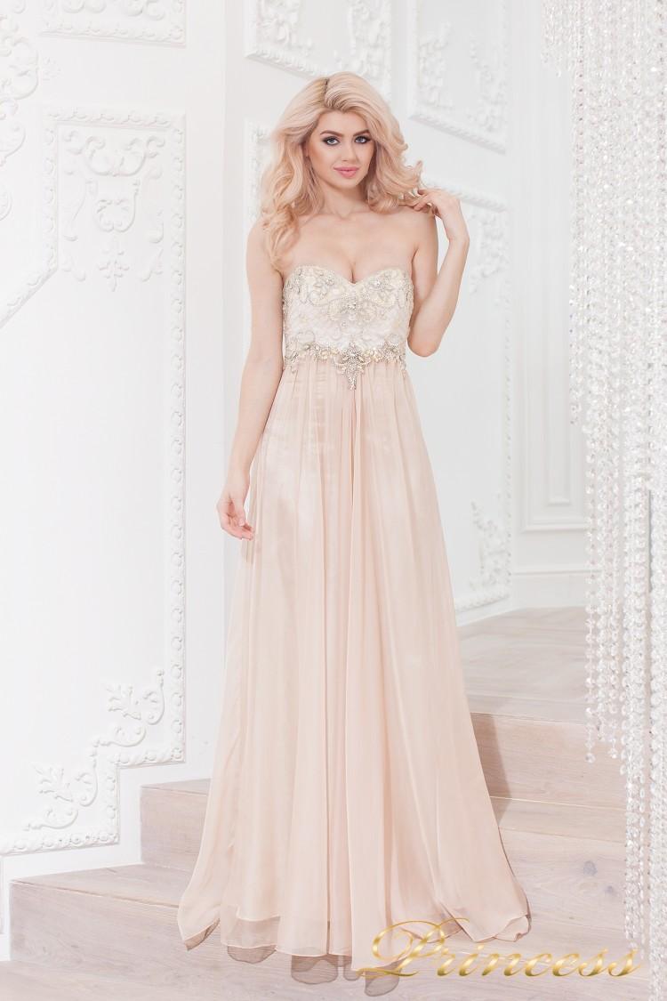 Вечернее платье 12015N бежевого цвета