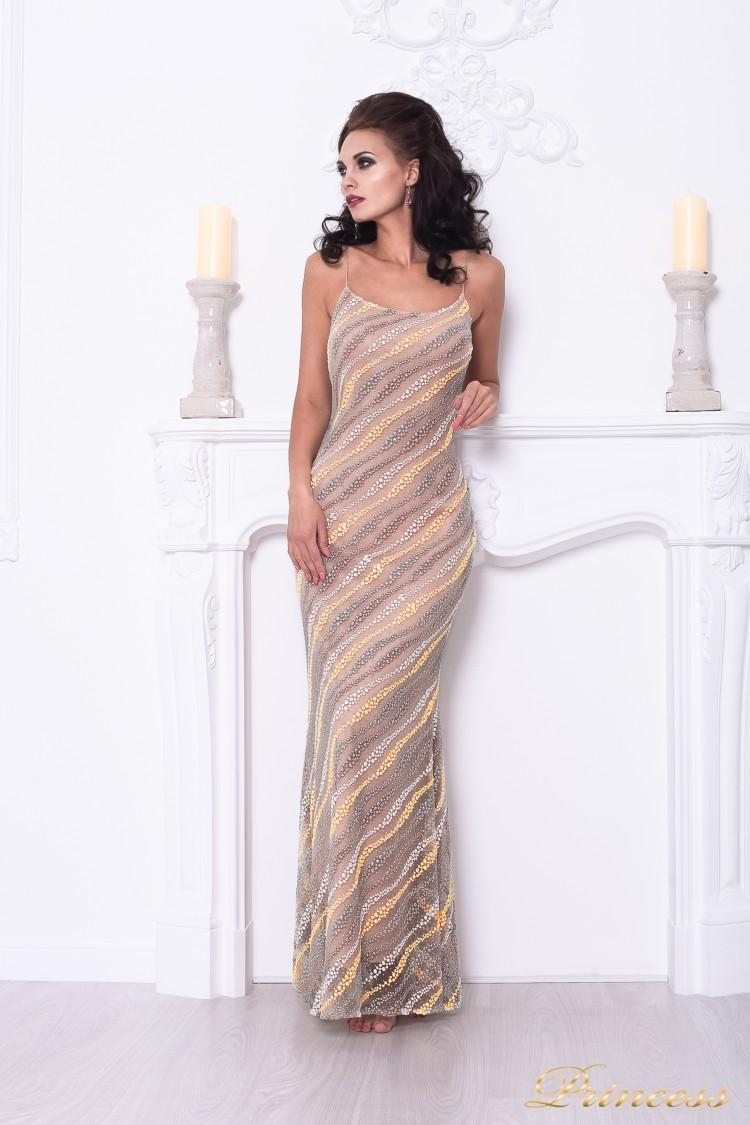Вечернее платье 1621 бежевого цвета