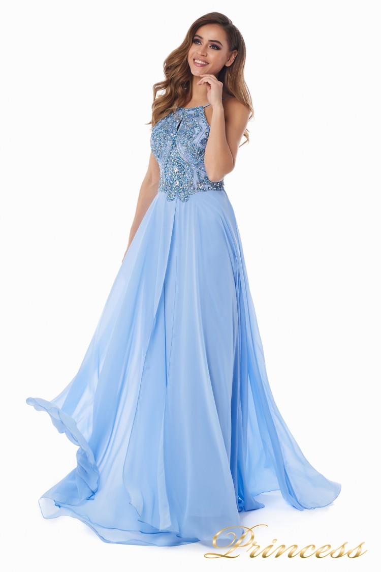Вечернее платье 12014B голубого цвета