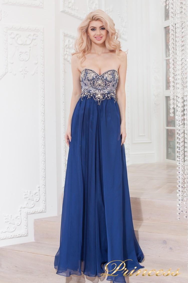 Вечернее платье 12015M синего цвета