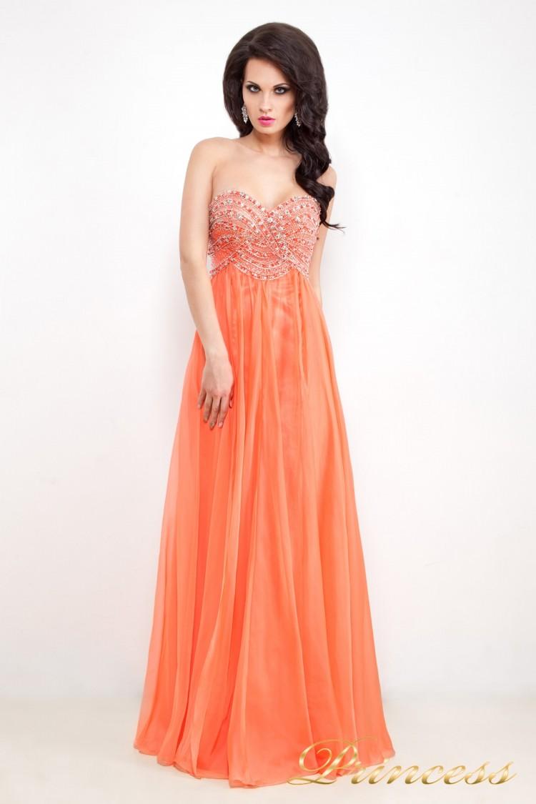 Вечернее платье 12022 оранжевого цвета