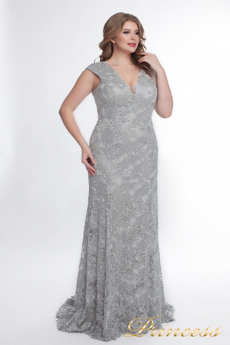 Вечернее платье 12026_silver стального цвета