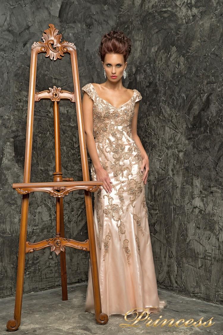 Вечернее платье 12036 бежевого цвета