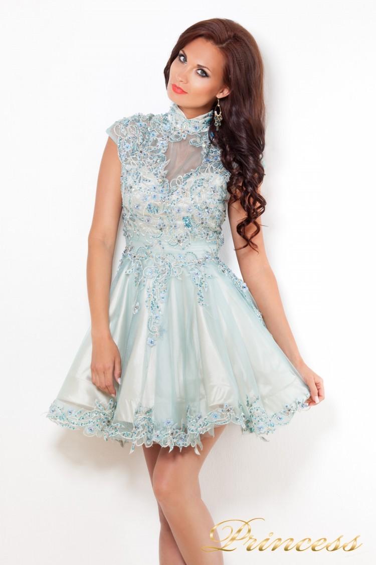 Платье на выпускной 12041 голубого цвета