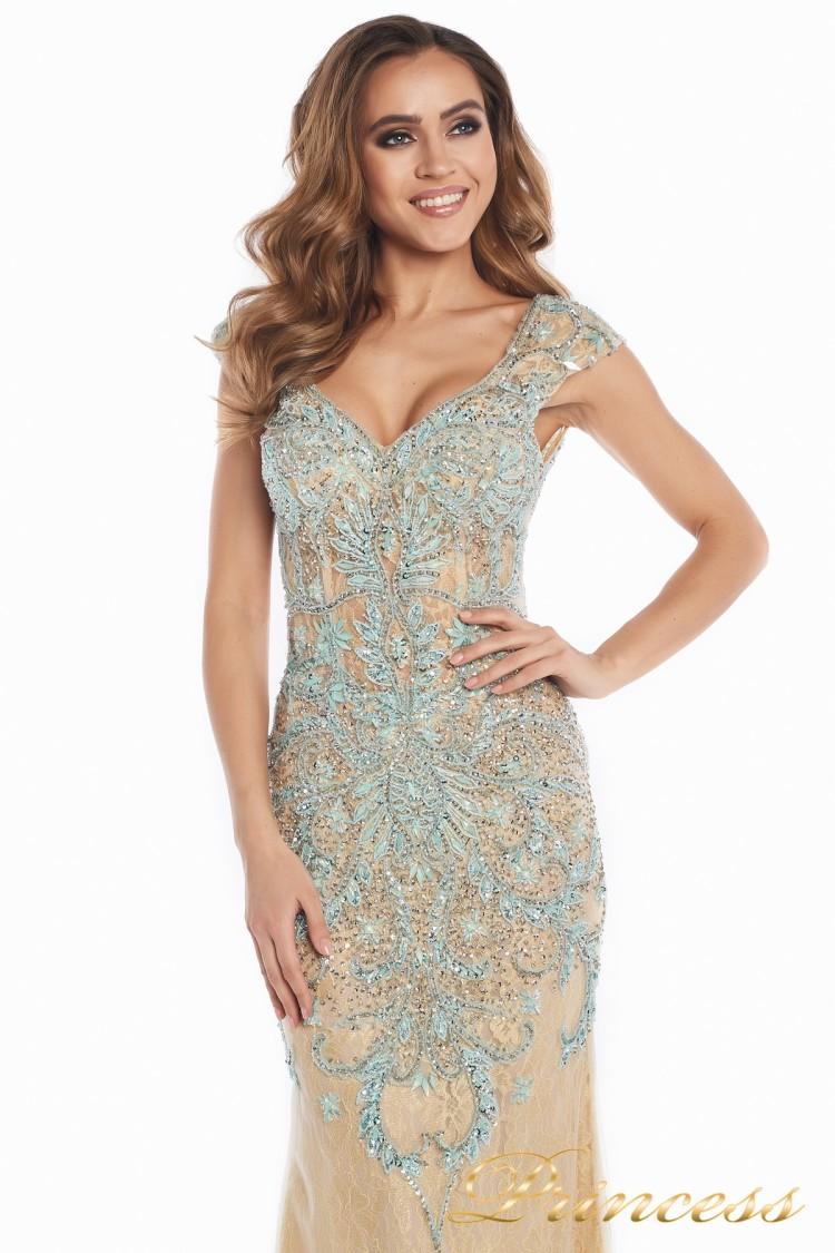 Вечернее платье 12053 золотого цвета