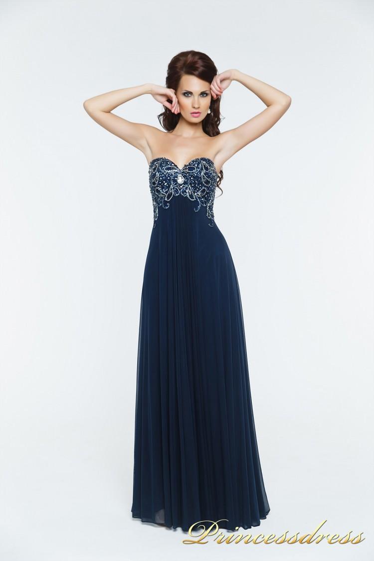 Вечернее платье 12056N синего цвета